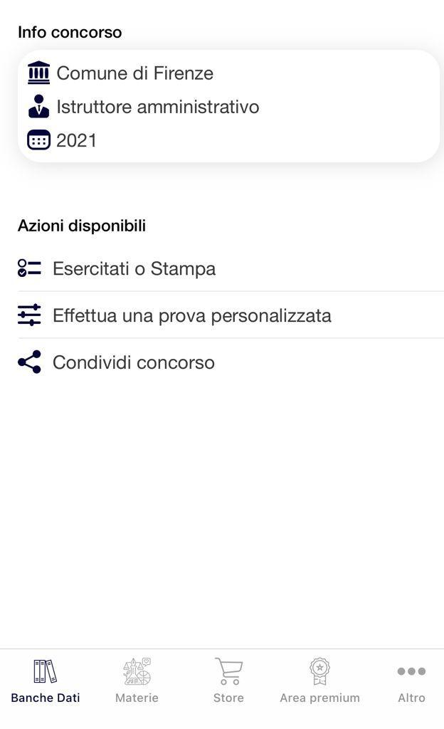 Banca Dati Concorso Istruttori Amministrativi Comune di Firenze