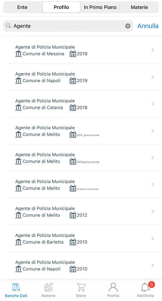 Banca dati Concorso Agenti di Polizia Locale Municipale