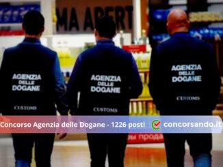 Concorso Agenzia delle Dogane 1226 posti