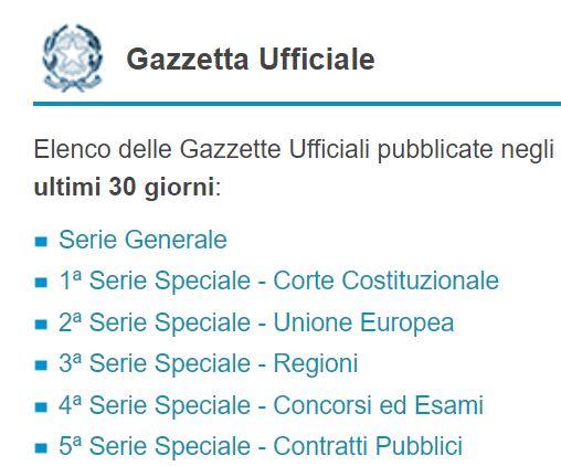 Gazzetta Ufficiale - Serie speciali