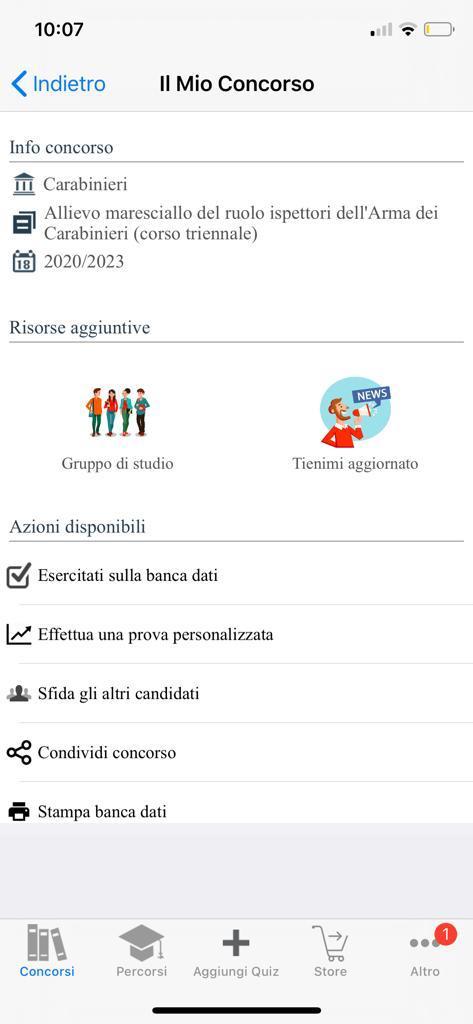 Banca dati Concorso allievi Marescialli Carabinieri 2020/2023