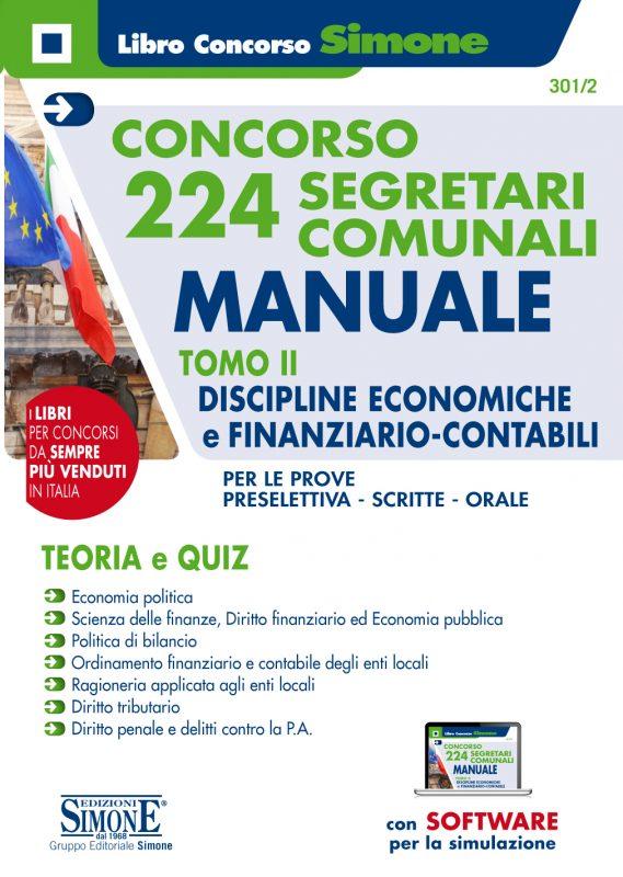 Concorso 224 Segretari comunali – Manuale Tomo II – Discipline economiche e finanziario-contabili
