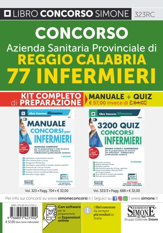 Concorso Azienda Sanitaria Provinciale di Reggio Calabria 77 Infermieri – KIT completo di preparazione