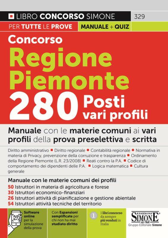 Concorso Regione Piemonte 280 Posti vari profili – Manuale con le materie comuni ai vari profili
