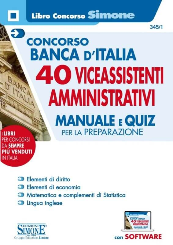 Concorso Banca d'Italia 40 Vice Assistenti profilo Amministrativo – Manuale e Quiz per la preparazione
