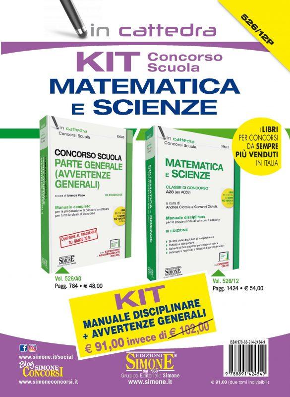 KIT (526/AG + 526/12) Concorso scuola Matematica e Scienze – Manuale disciplinare + Avvertenze generali – Classe di concorso A28 (ex A059)